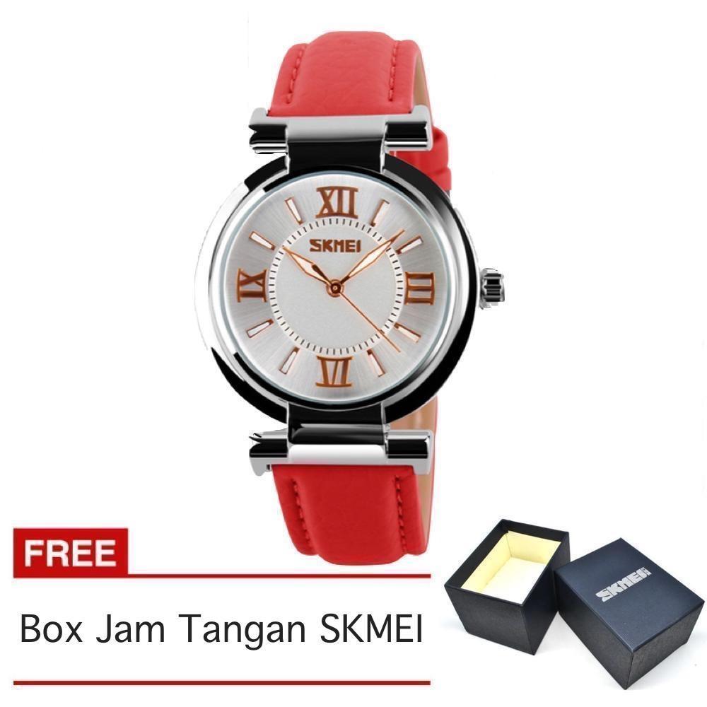 Skmei Jam Tangan Wanita Strap Kulit Merah 9075 Red Free Box Skmei Diskon 40