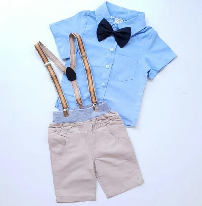 Detail Gambar Kemeja Biru Dasi Pita Hitam Suspender Coklat Import / Baju Setelan Anak Laki Cowok / baju anak terbaru / baju anak laki laki murah / baju anak ...