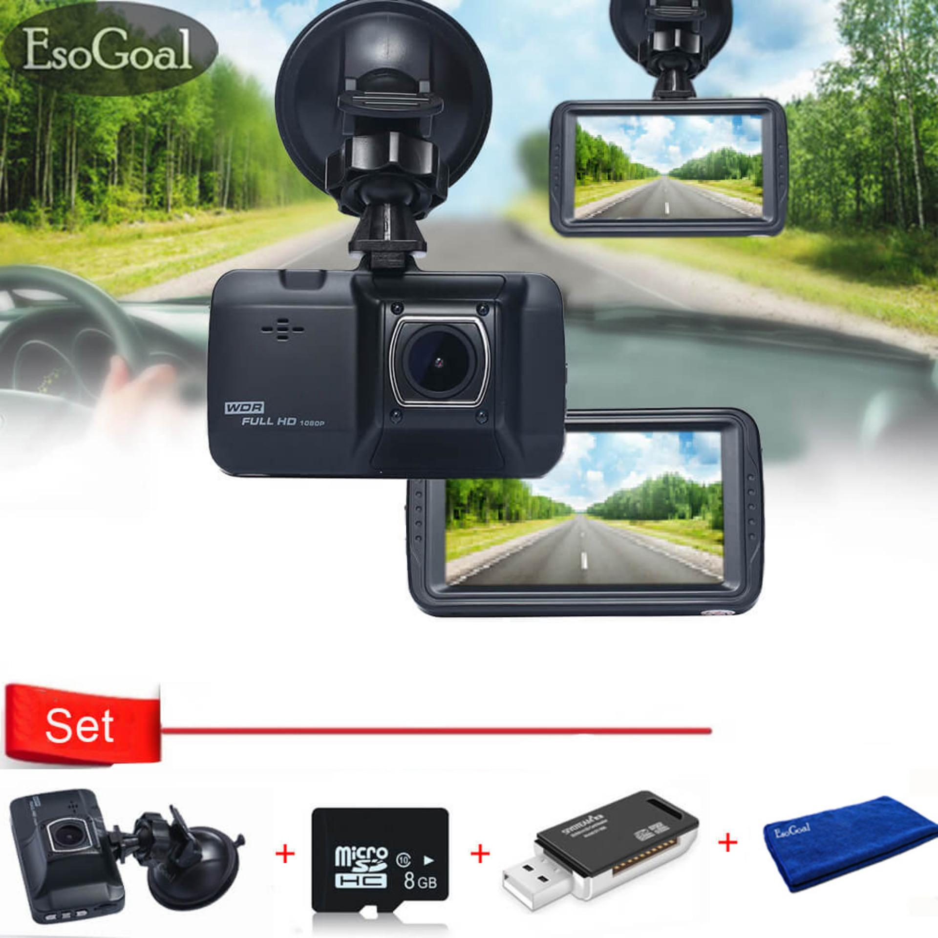 Jual Esogoal 3 Ir Light Night Vision 1080P 120 Car Dvr On Dash Video Recorder G Sensor Vehicle Camera And Micro C 10 8G Memory Card And Usb 2 Sd Card Reader Original