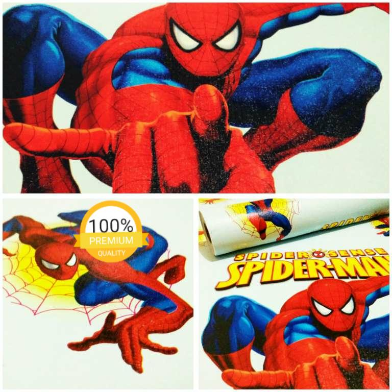 Grosir murah wallpaper sticker dinding kamar ruang indah biru kartun anak lucu spiderman merah biru