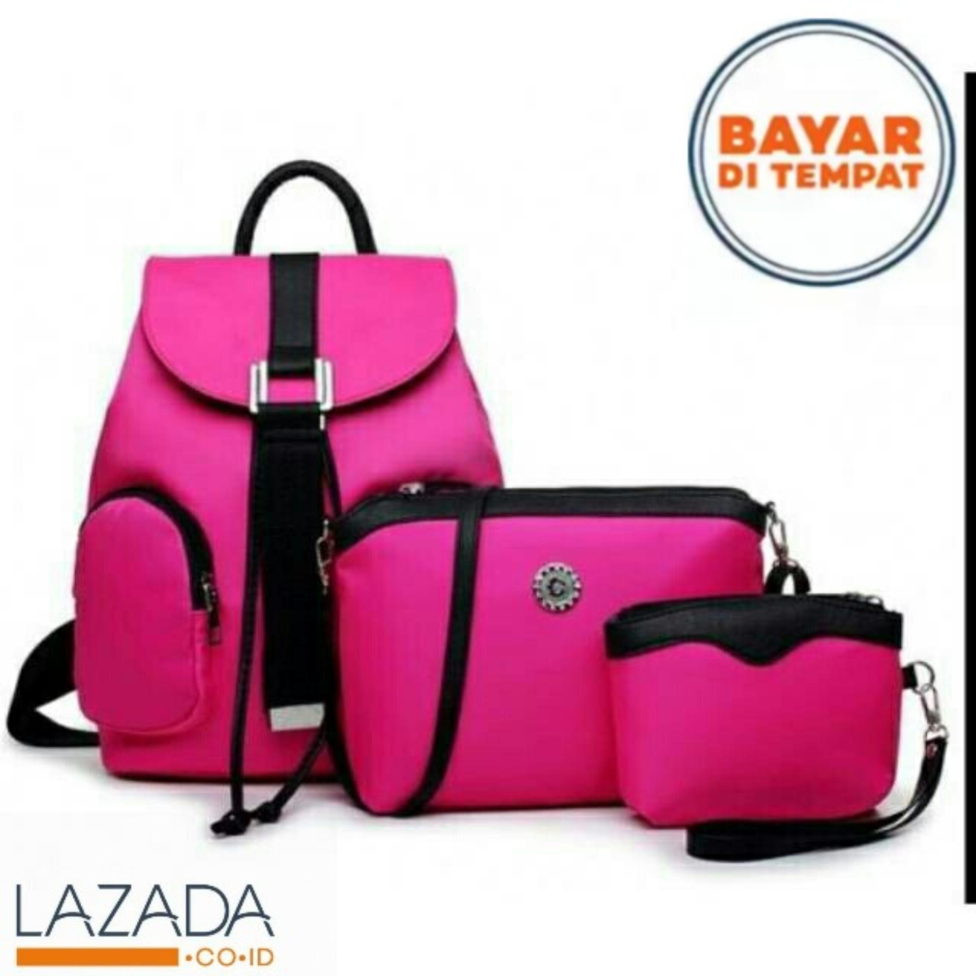 Backpack Set Korean Style 3 In 1 Double Clasp Tas Ransel Selempang Cross Body Bag Kulit  Pulcher Zayn Black Import Batam Wanita Fashion Free Dompet Yosh