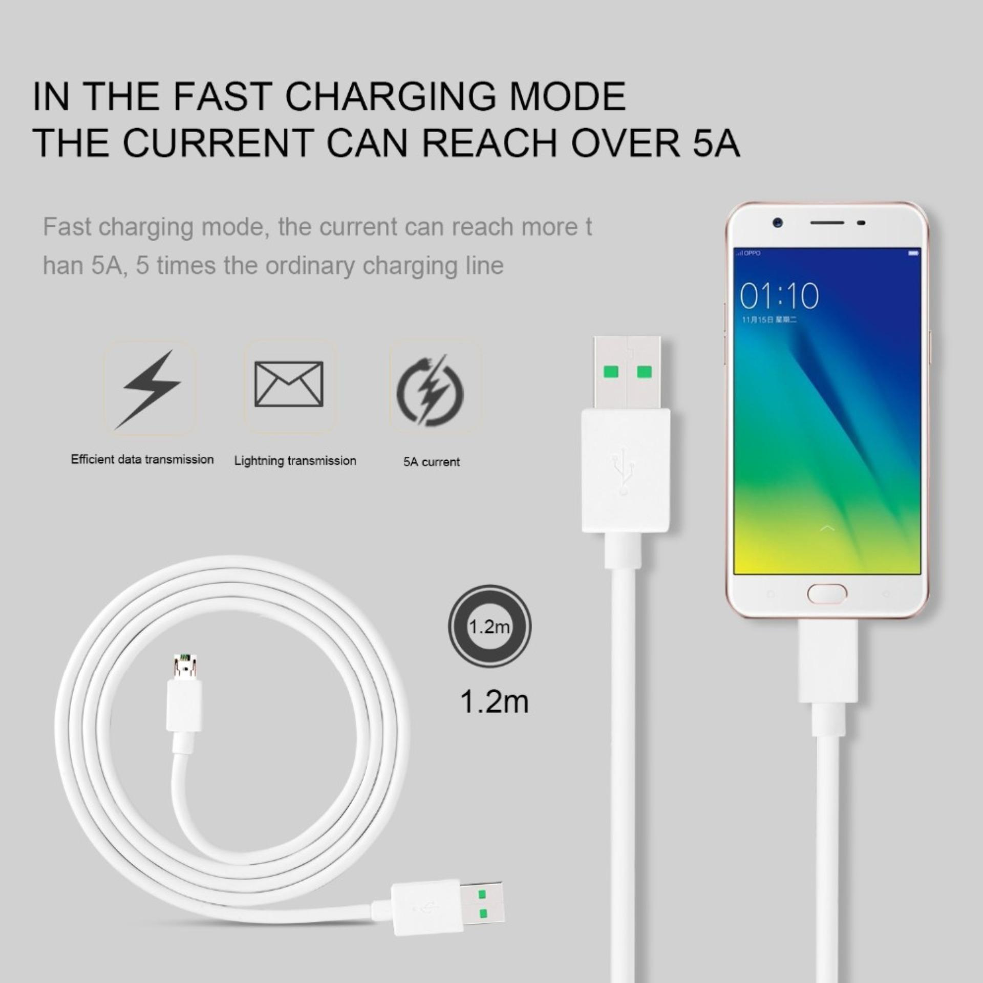 Oppo A71 Kabel Data Charger Oppo Vooc 4A Fast Charging Original - Putih