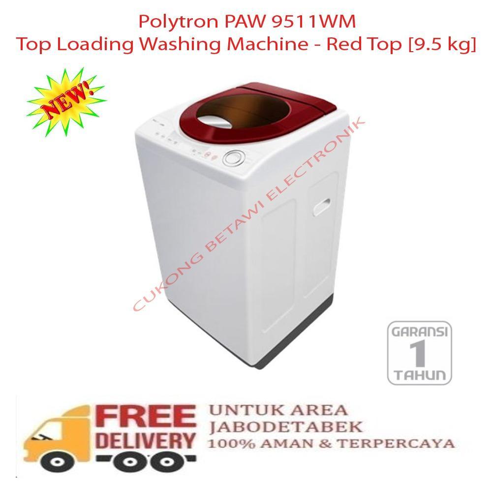 Polytron PAW 9511WM Top Loading Washing Machine - Red Top [9.5 kg]-KHUSUS JABODETABEK