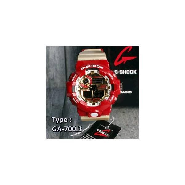 G Shock IRON MAN Casio GA700 MODEL TERBARU Merah Emas Red Gold Glossy