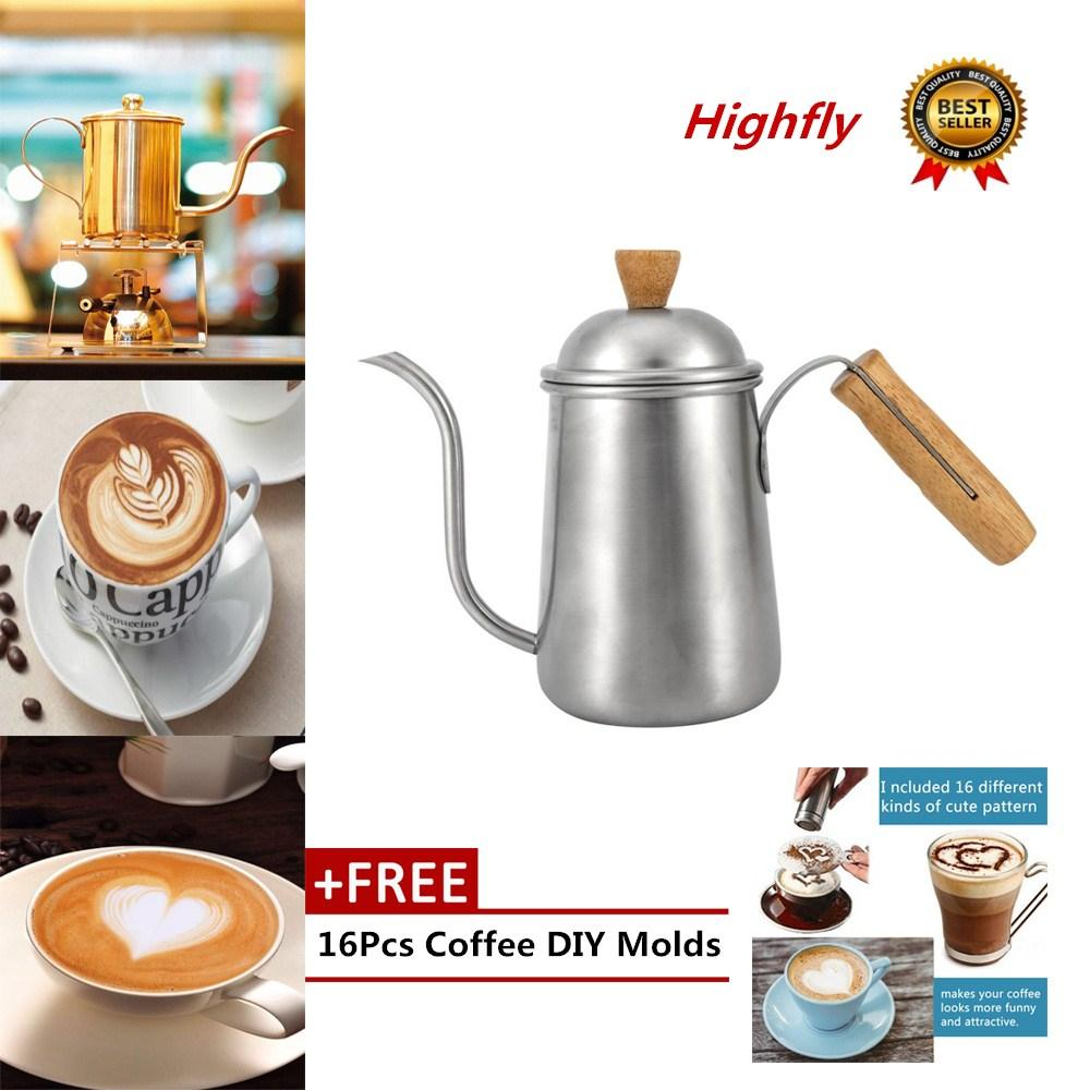 Free Gift?1Pc 650ml Kitchen Stainless Steel Pour Coffee Drip Pot Kettle With Long ?