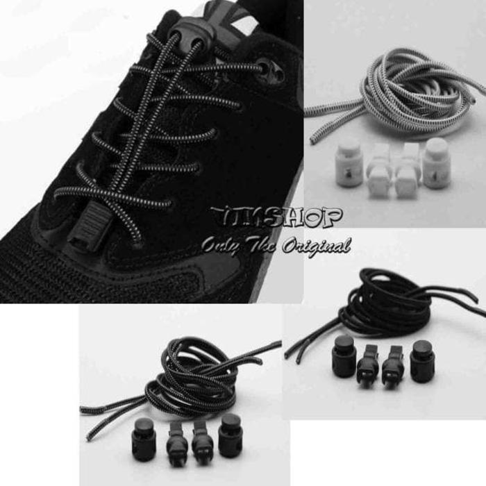 Tali Sepatu Praktis Elastis Shoe Lock Lace Laces No Tie Elastic Shoelaces With. Source · Tali Sepatu Karet Lock Lace Elastic - pgIRZA