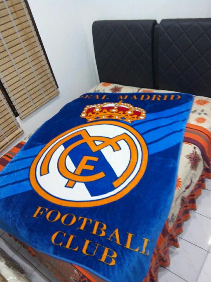 Selimut Motif Bola Real Madrid 3D Kualitas Import ukr 150x200