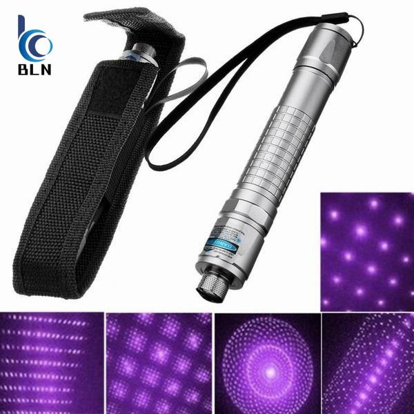 Aluminum Alloy Purple Light Pen Laser Pointer Powerful Beam Light Lamp Presentation Lazer High Power with Pouch Carry Bag(Color:Silver)
