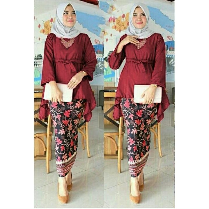 Ulasan Honeyclothing Setelan Kebaya Wanita Bilqes Merah Kebaya Kutubaru Setelan Batik Baju Wanita Best Seller