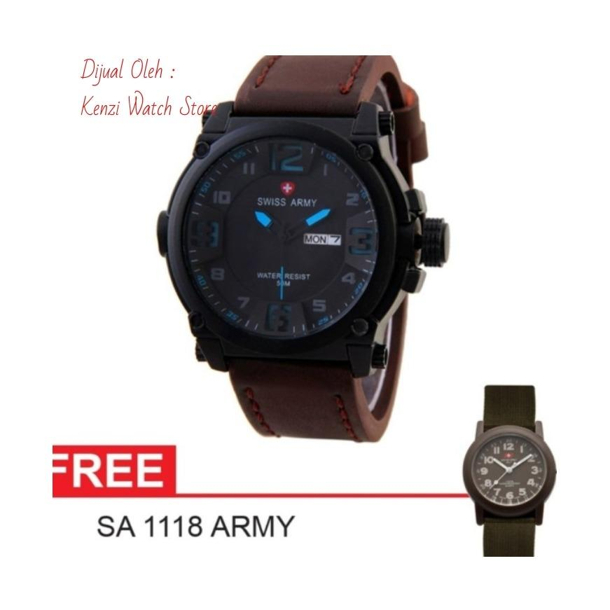 ... Full Source · Swiss Army Dual Time Jam Tangan Pria Sa 9991 Black Stainless Steel Source Swiss ArmyTrend Ekslusive