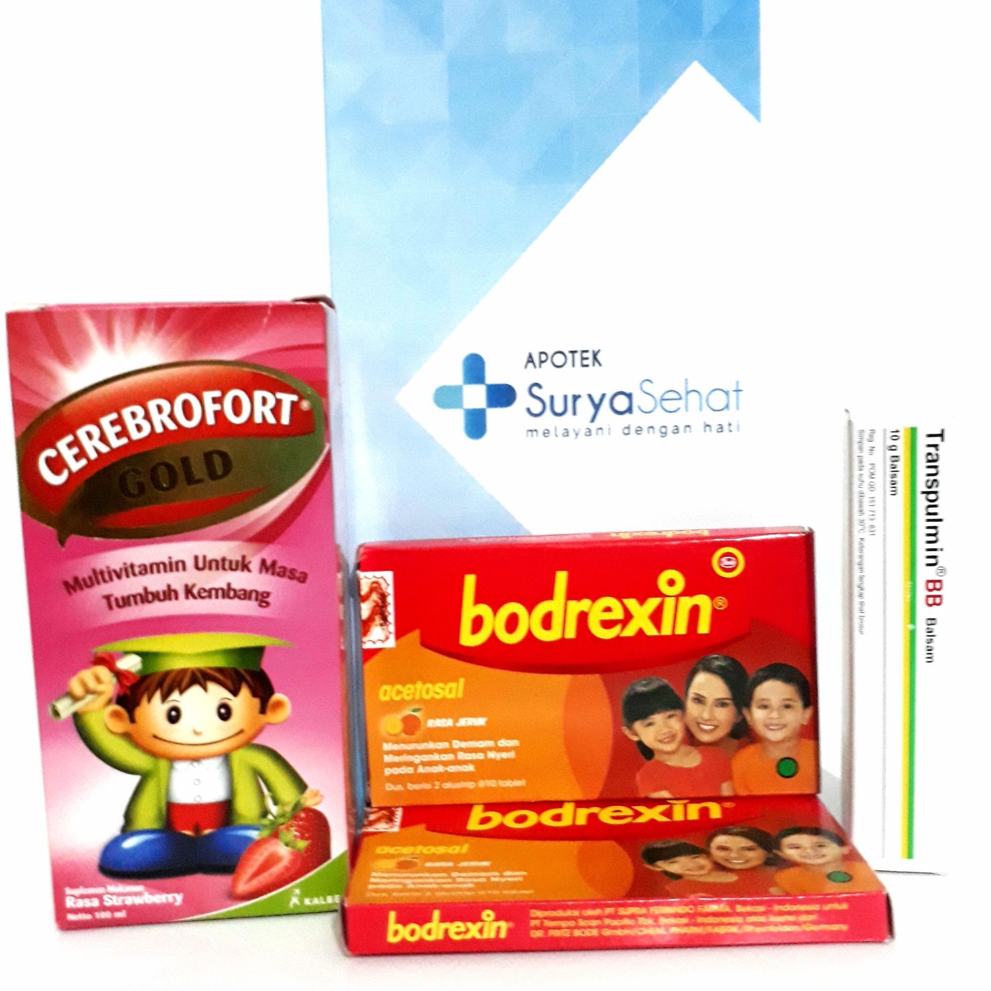 Paket Hemat Obat dan Vitamin Anak Bodrexin 4 Strip Transpulmin BB 10g Cerebrofort