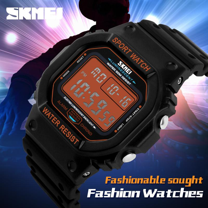 SKMEI Sport Men LED Watch Anti Air Water Resistant WR 50m DG1134 Jam Tangan Pria Tali Strap Karet Silicone Digital Alarm Wristwatch Wrist Watch Fashion Accessories Stylish Trendy Model Baru Sporty Design - Hitam Orange