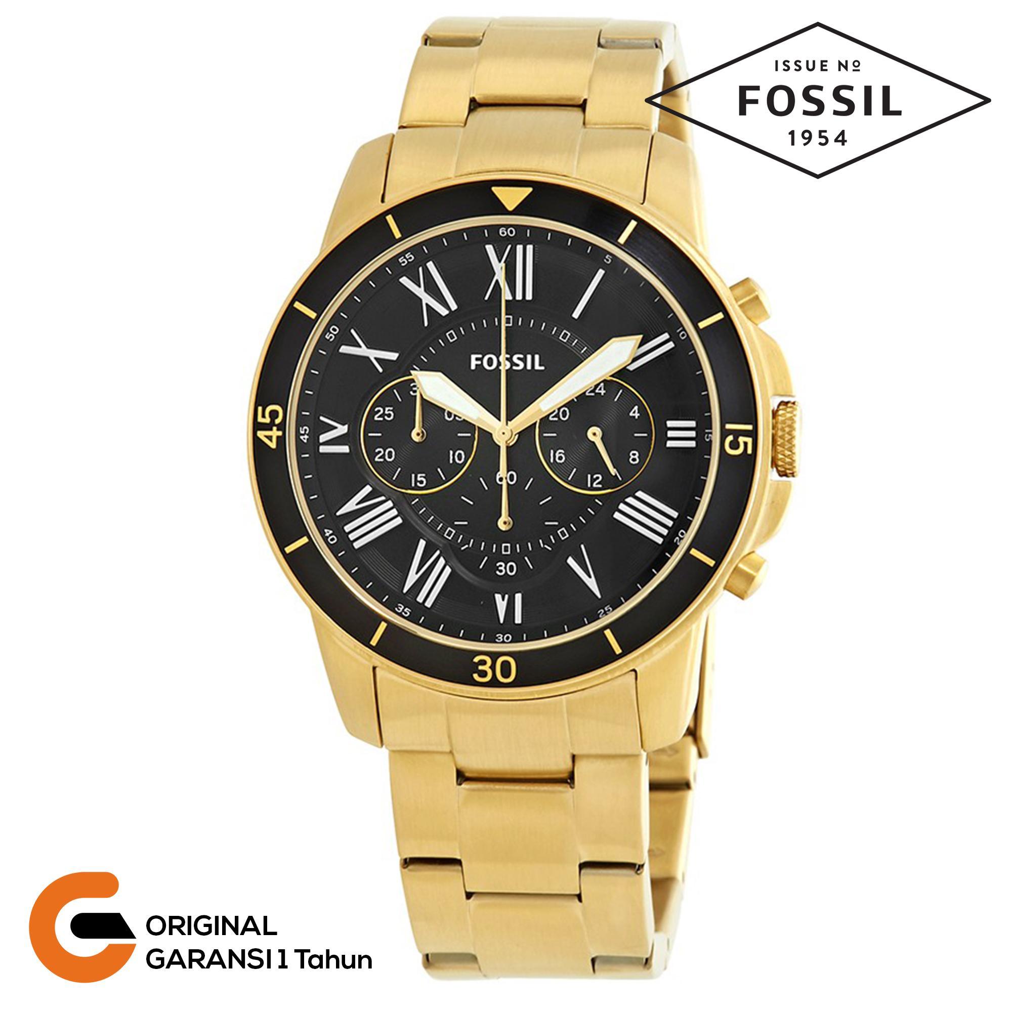 Fossil Pilot 54 Chronograph Jam Tangan Pria Tali Rantai Logam Tali Stainless Steel Quartz Movement Black