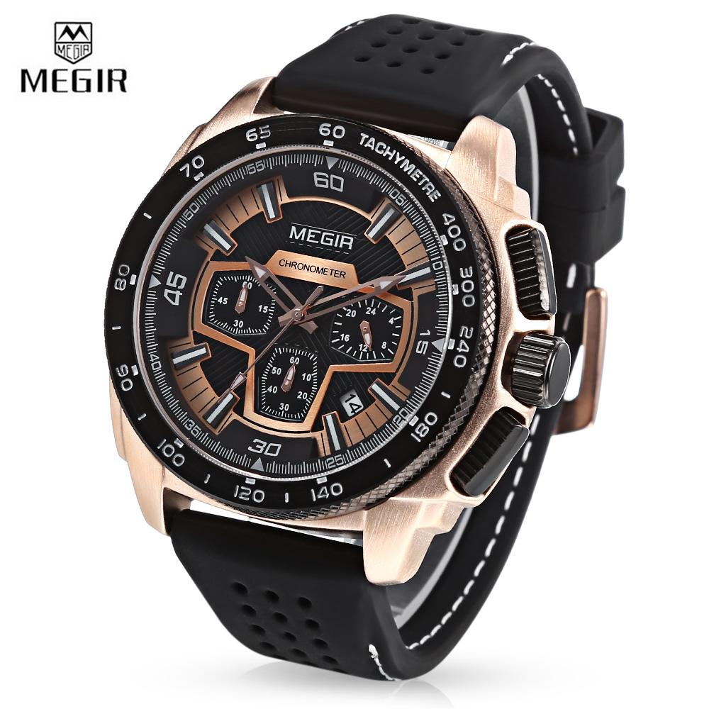 MEGIR MN2056 Men Quartz Watch Calendar Stopwatch Luminous Male Wristwatch - intl