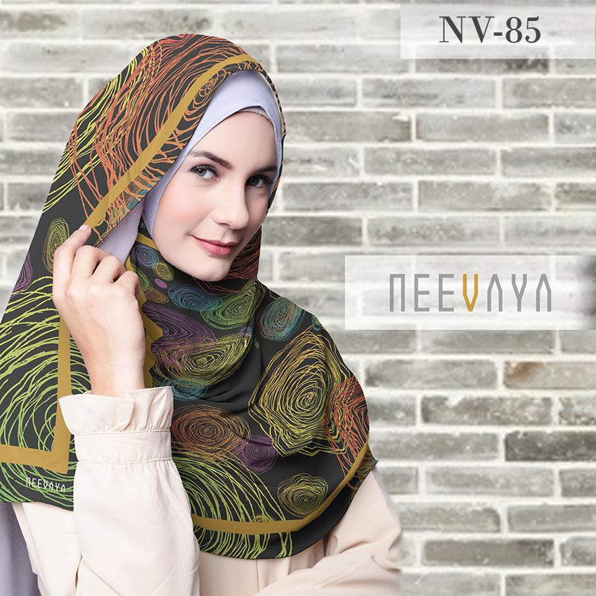 Hijab Jilbab Scarf Segi Empat Printed Voal Divine Premium Neevaya NV-85