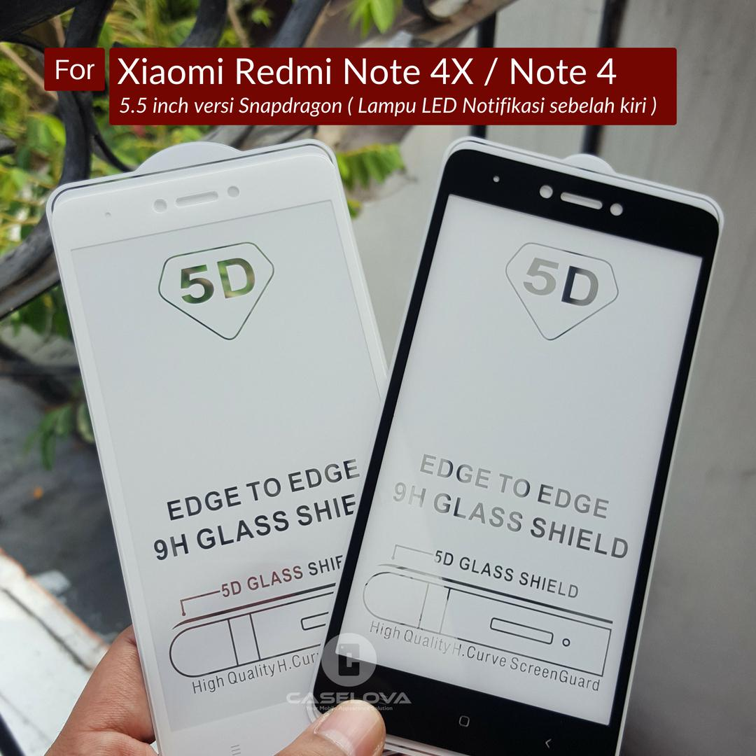 Caselova Premium Full Cover Tempered Glass 5D Round Curved Edge For Xiaomi Redmi Note 4X ...
