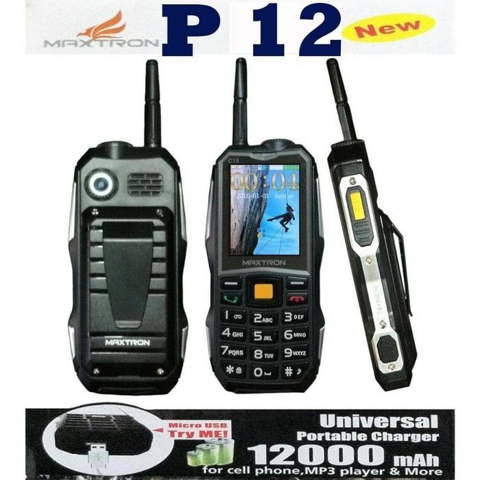 HANDPHONE MAXTRON P12 NEW 12000mAh / HP OUTDOOR / HANDPHONE POWER BANK