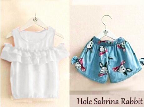 Shopping Yukz Setelan Atasan Baju dan Celana Anak Cewek SABRINA RUFFLE RABBIT / Setelan Anak Perempuan