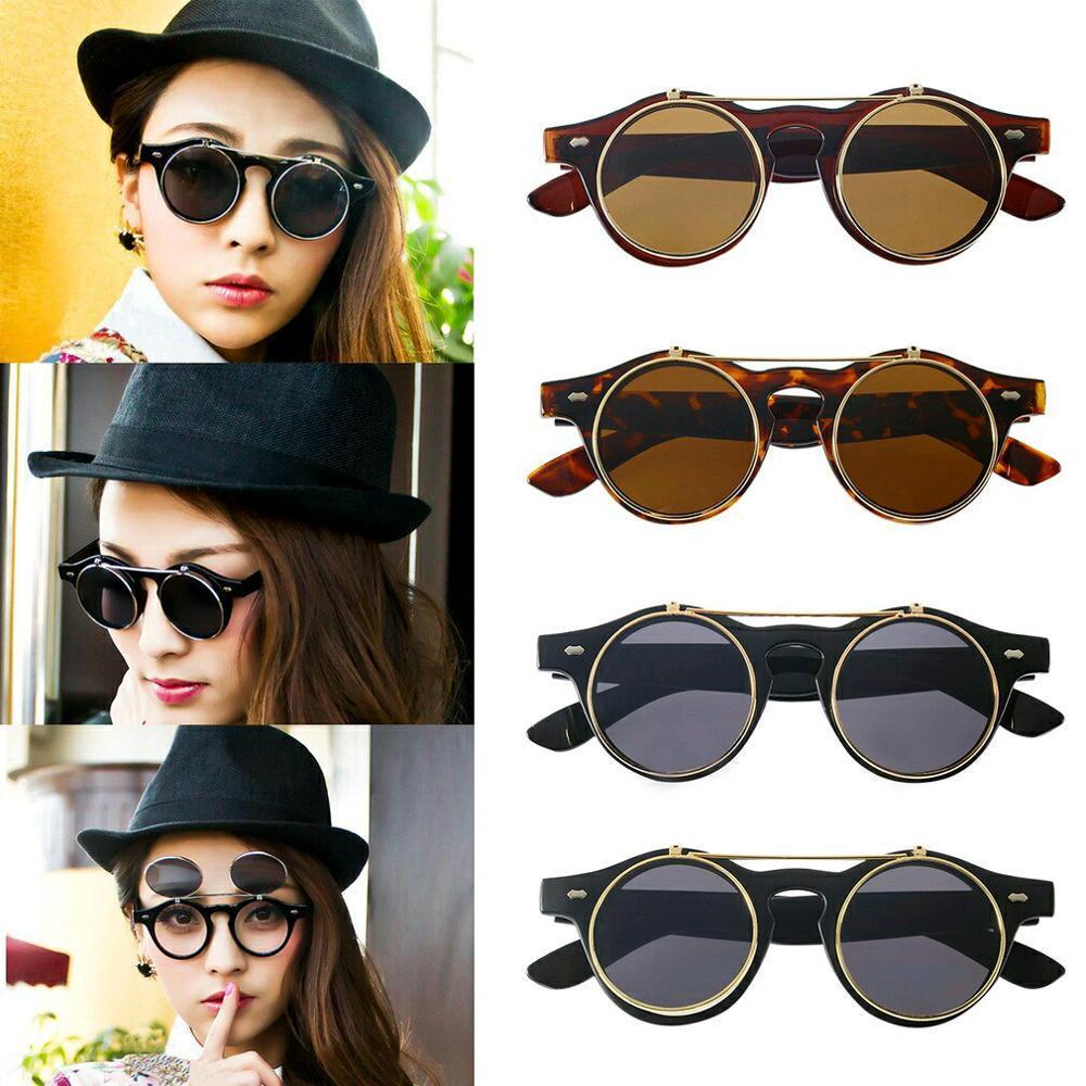 Kehebatan Kacamata Steampunk Bundar Emo Vintage Wanita Fashion Retro Double Flip Dua Lensa
