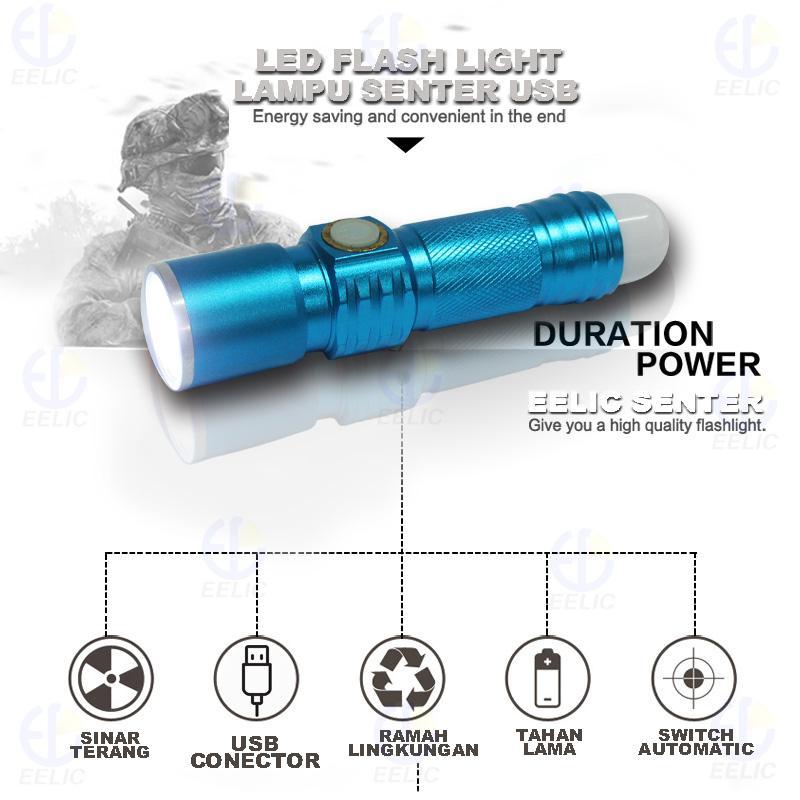 ... EELIC LAS-636 BIRU LAMPU SENTER USB SENTER JEMPOL SENTER EMERGENCY CAHAYA SANGAT TERANG HEMAT ...