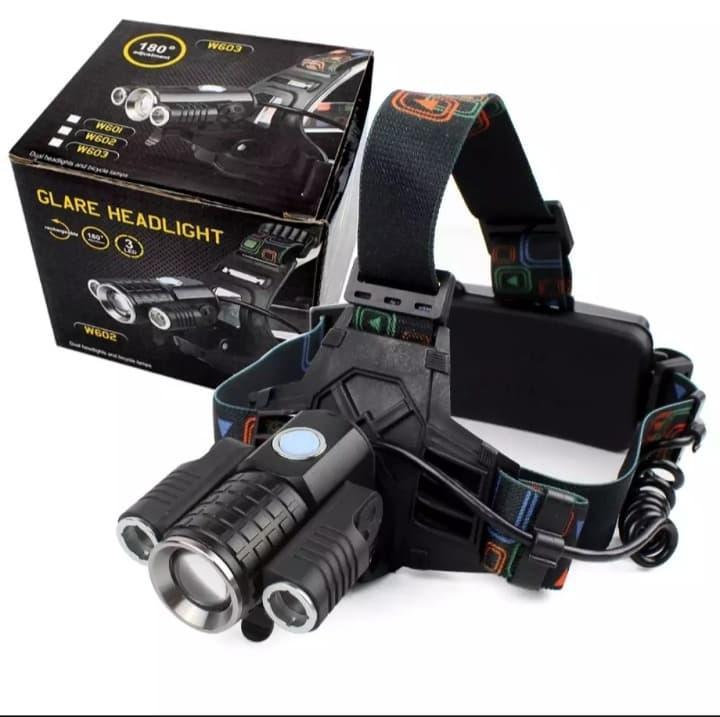 head lamp zoom senter kepala 3 mata high quality original for adventure glare headlight – hitam