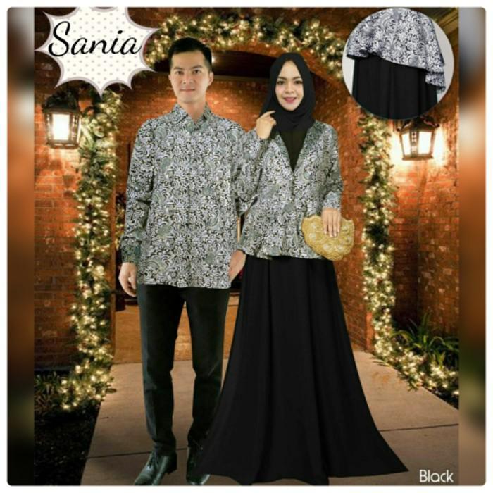 Cuci Gudang !!!    Baju Pesta Mewah Couple Sania Black Busana Muslim Pasangan Nia Grey TM