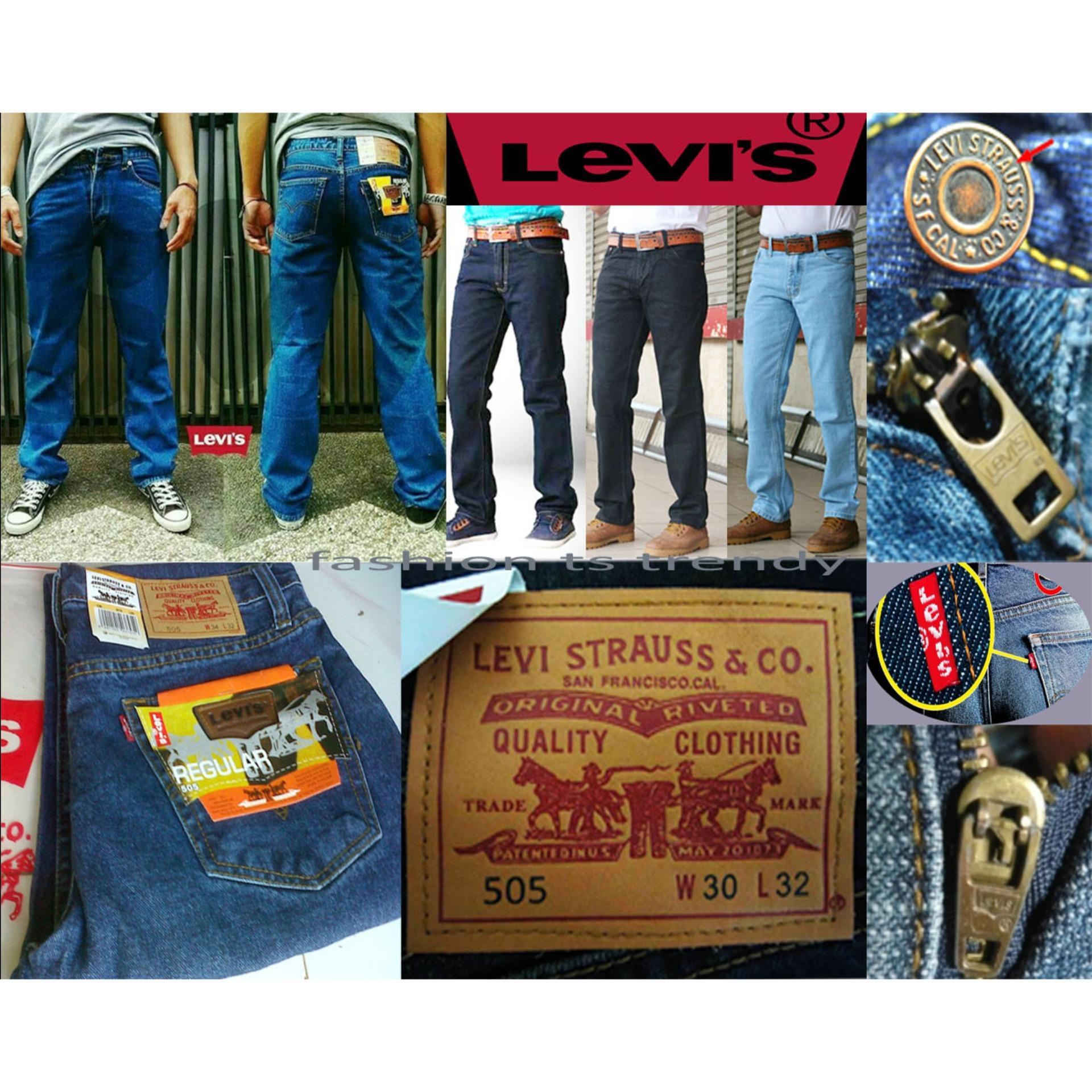 Fitur Celana Jeans Cowok Laki Reguler Fit Abu Denim Pria Fashion Panjang Standar Biru