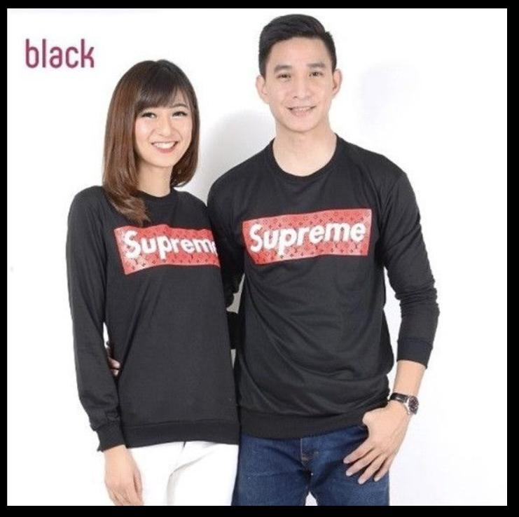 Kaos couple / baju couple / sweater couple lengan panjang murah SUPREME BABYTERRY Hitam
