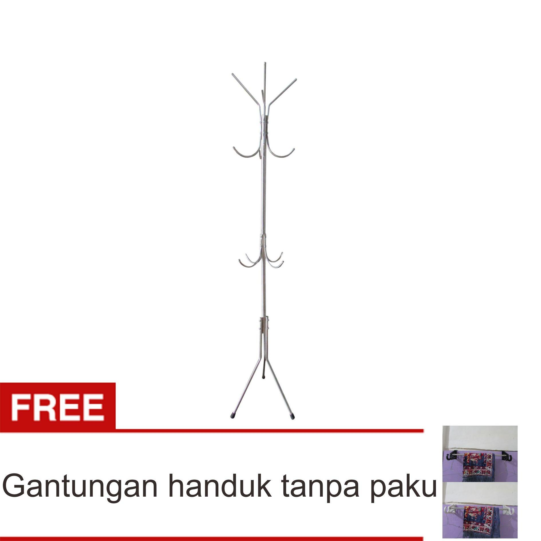 Lanjarjaya Stainless Steel Standing Hanger Multifungsi / Gantungan Tas Baju Serbaguna + Gantungan Handuk Tanpa Paku