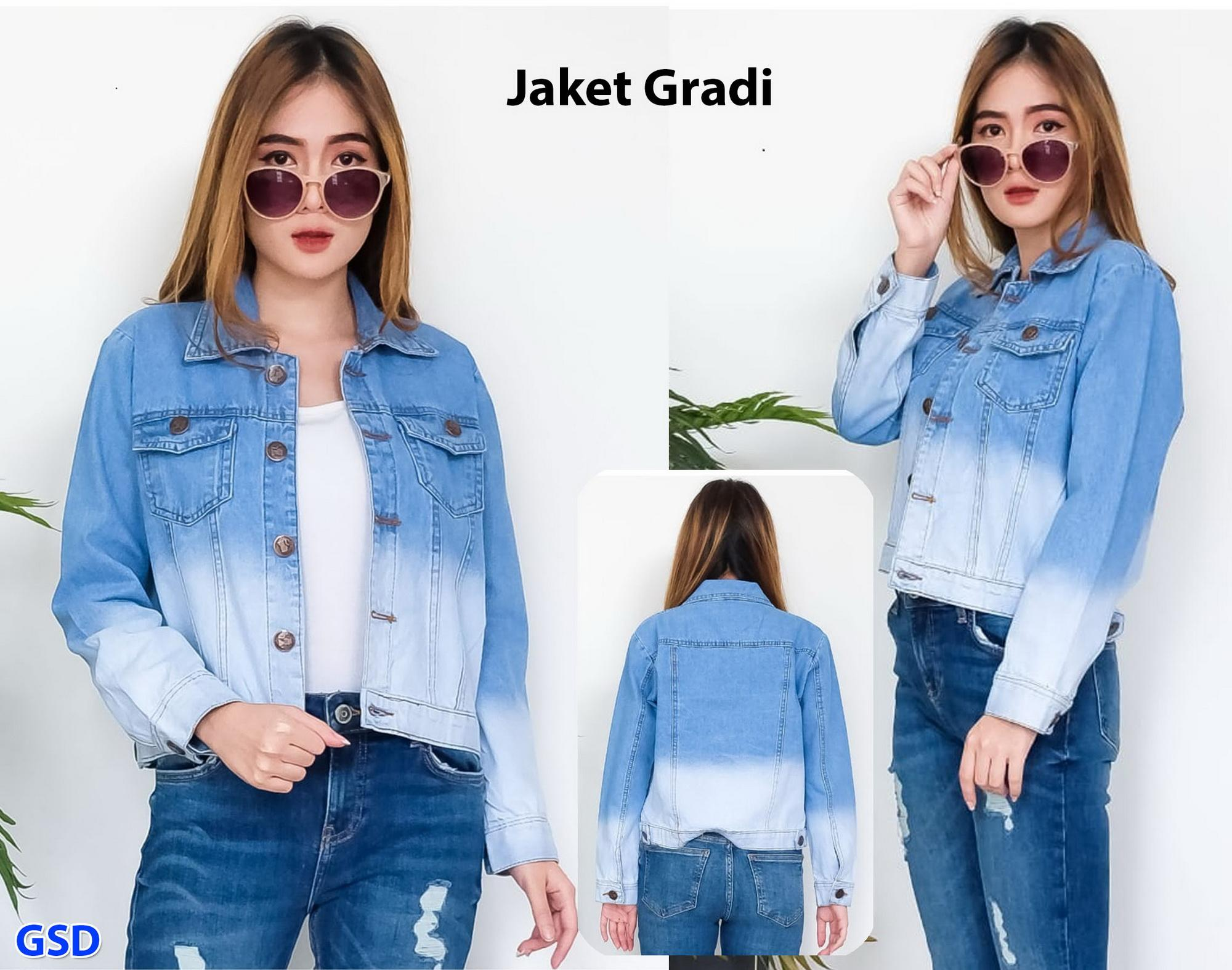 jaket gradi jaket jeans fashion wanita jaket jeans casual cewek jaket jeans  denim e28a6e8820