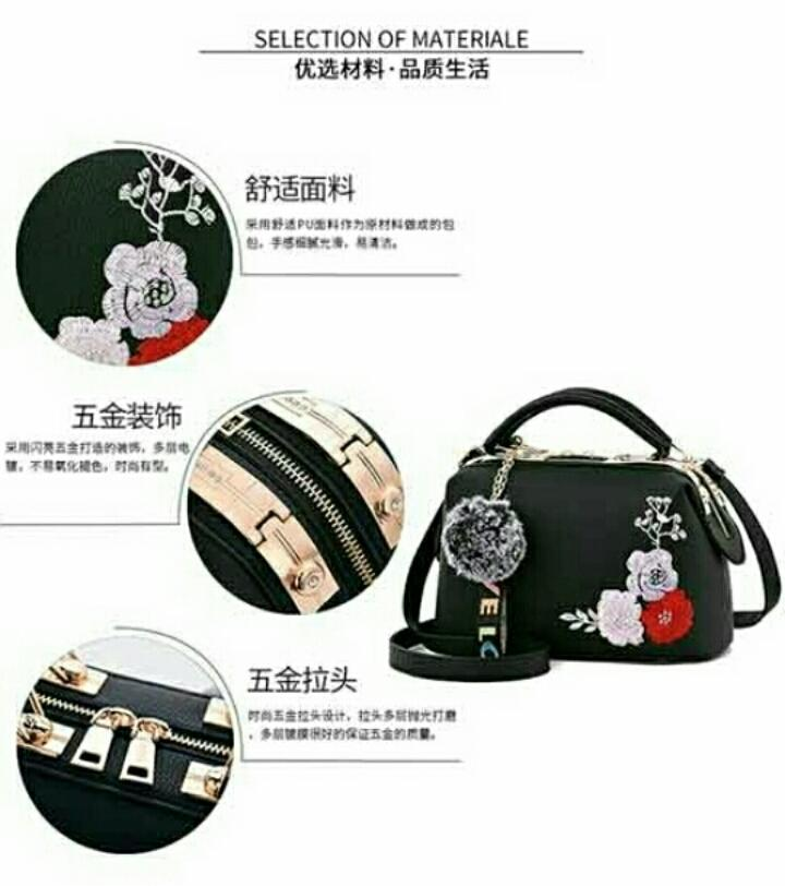 1ST-3341 Handbag Import Korean Style + Free Gantungan Pompom - 2 ...