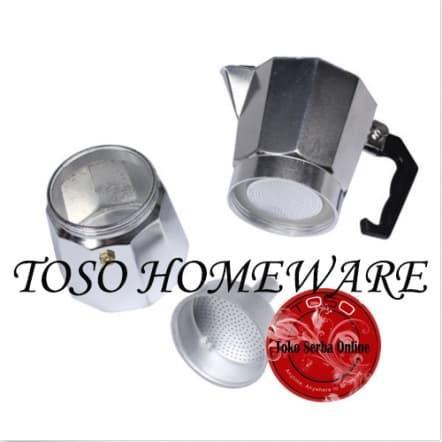 Detail Gambar Silver Mokapot Alumunium 3 Cup Moka Pot Coffee Espresso Kopi Genzakitchen Terbaru