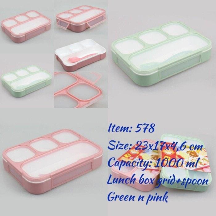 LUNCH BOX YOOYEE GRID SEKAT 4 ANTI TUMPAH - Turquoise ...