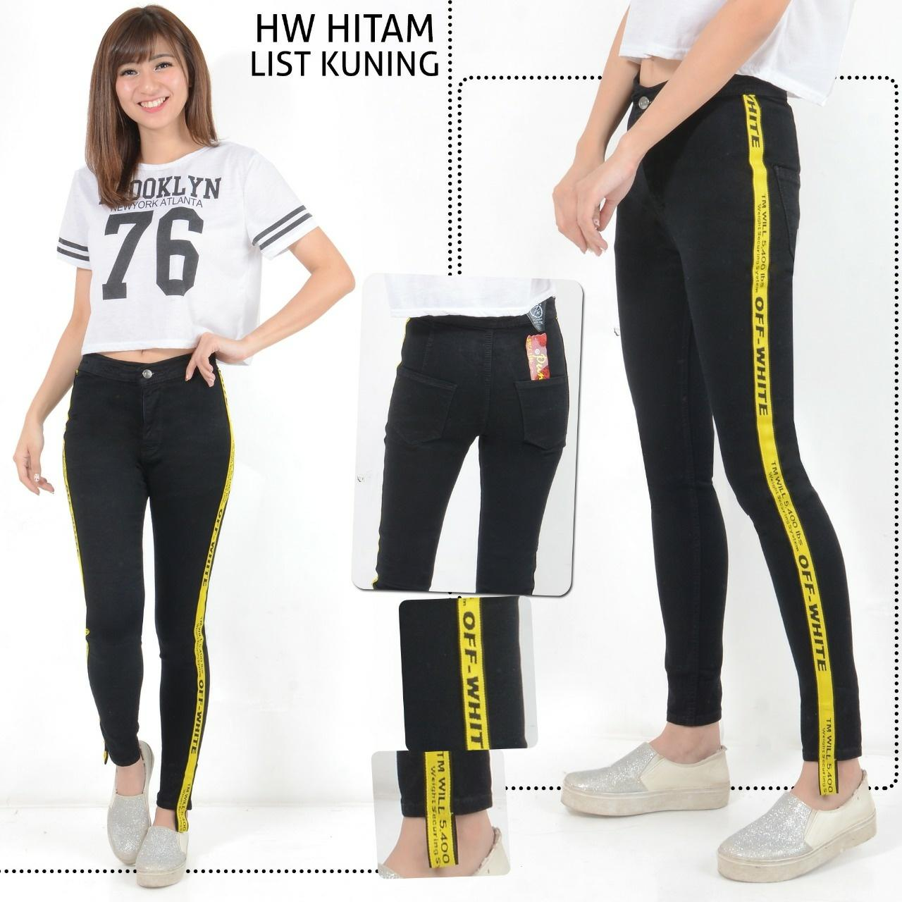 Newone Shop Off White Jeans Import List Kuning Stretch