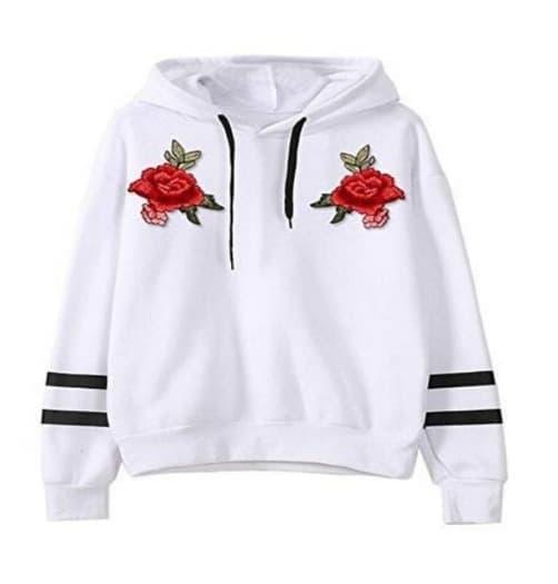Claireshop Sweater Wanita Hoodie Flower Rose 2 Strip - Putih