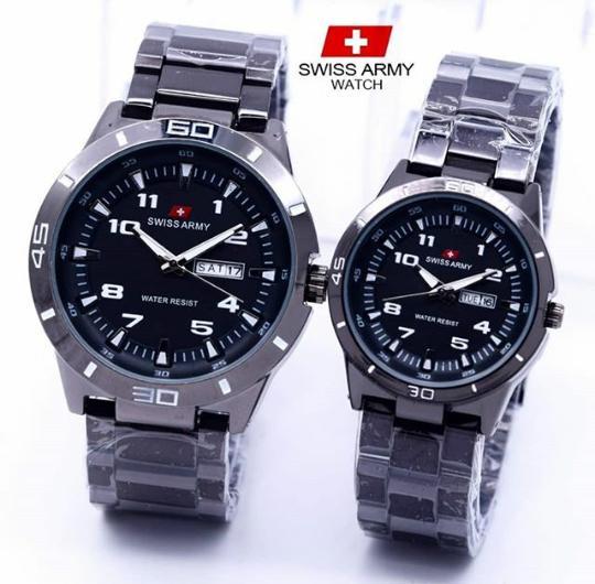 Swiss Army Couple / Pasangan - Jam Tangan Pria & Wanita - Hari Tanggal - Tali Rantai Stainless Steel - Terbaru ...