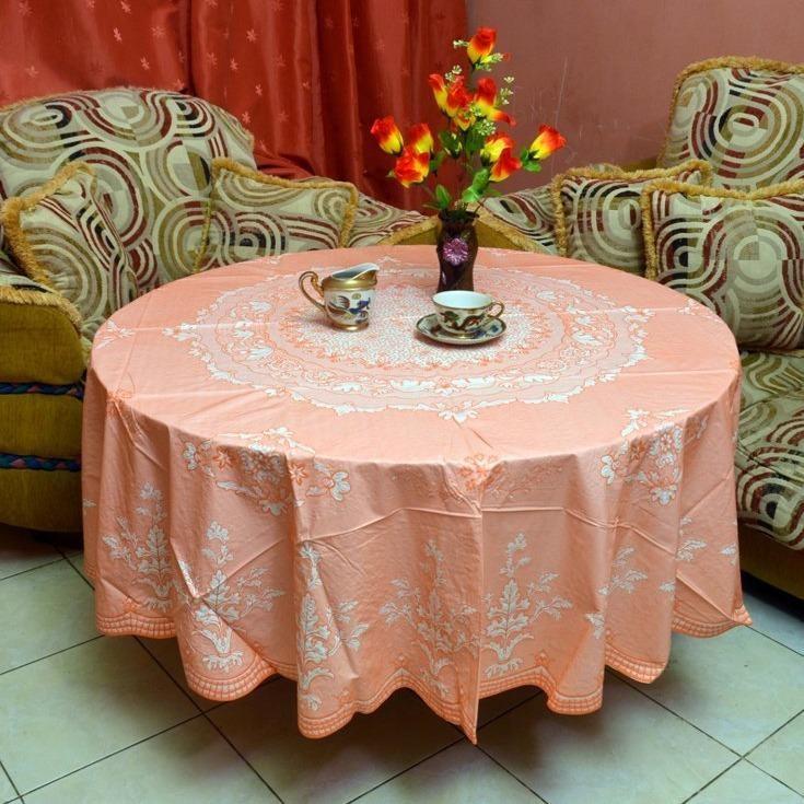 Taplak Meja Makan Vinyl Lace Bulat @180Cm / Taplak Meja Makan Besar 6 Kursi