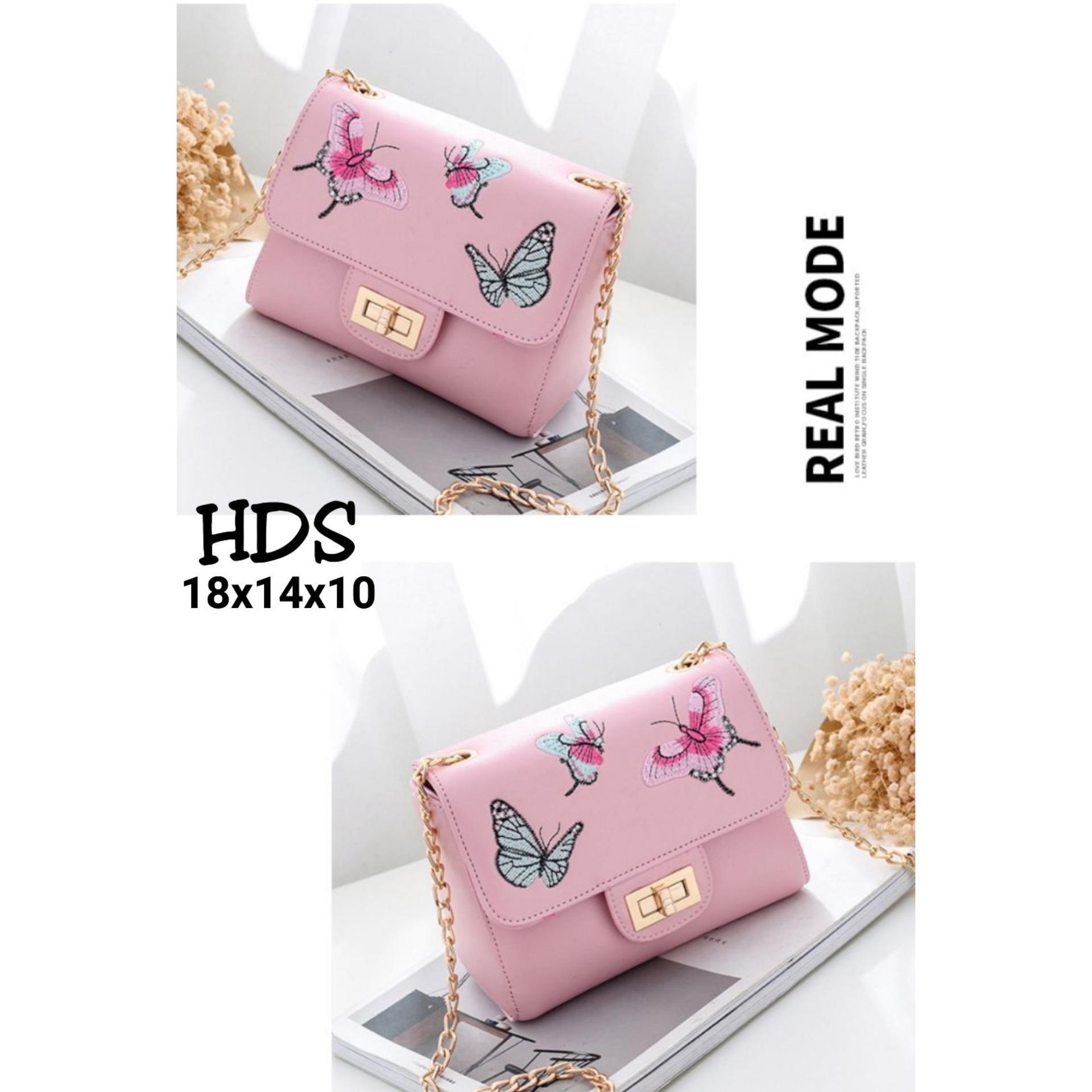 Fitur Sling Bag Korean Style Cookie Tas Selempang Pink Wanita Butterfly Locker