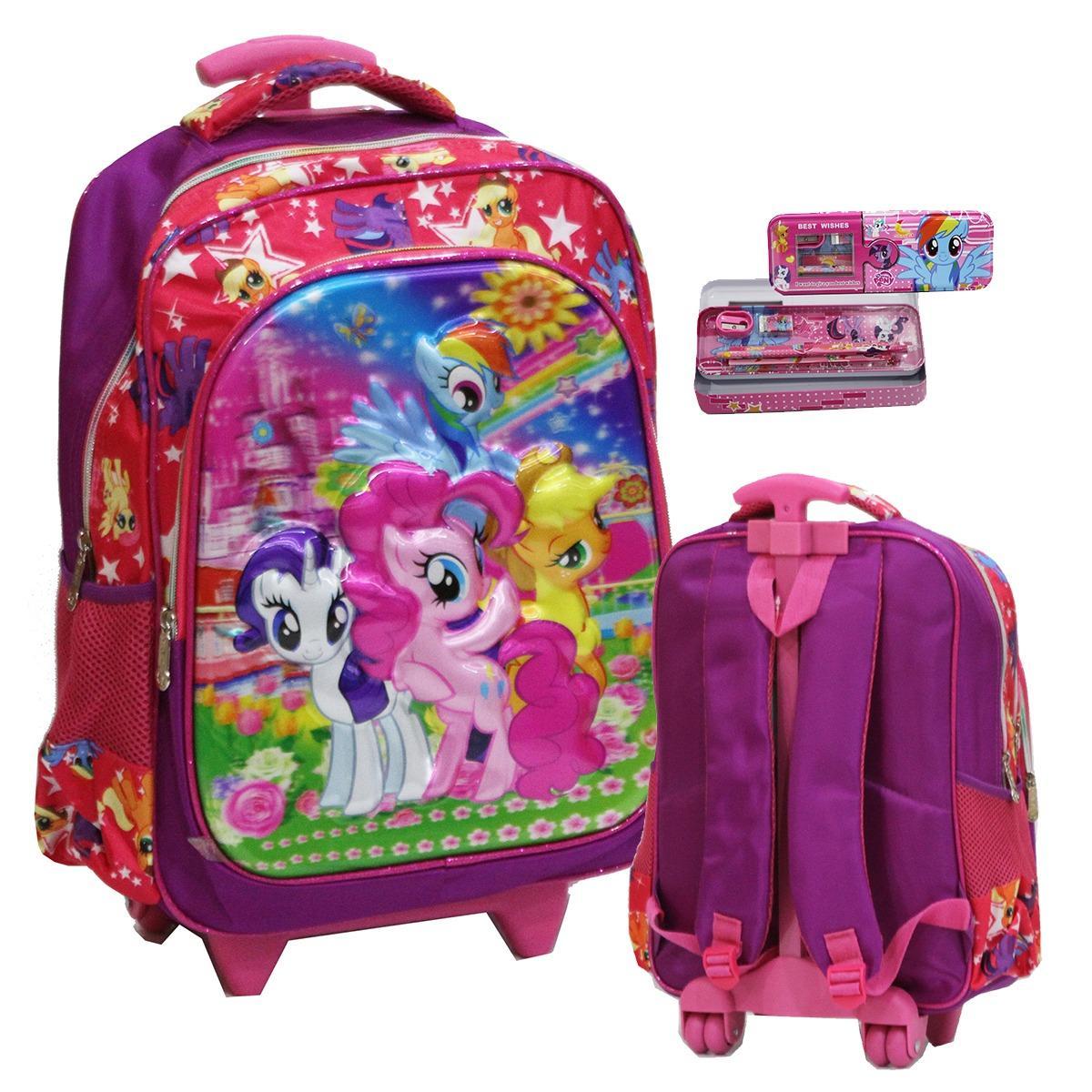 Spesifikasi Onlan Tas Anak Sekolah Sd Karakter Anak Perempuan 5D Timbul Hologram Import Kotak Pensil Pink Lengkap