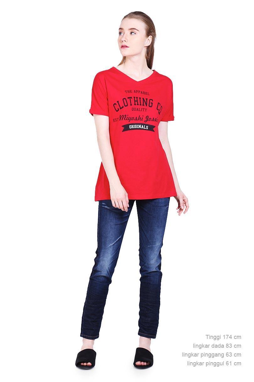 ... Miyoshi Josei Fashion Pakaian T-Shirt Wanita Dbmj001Rd Tshirt Red - 5