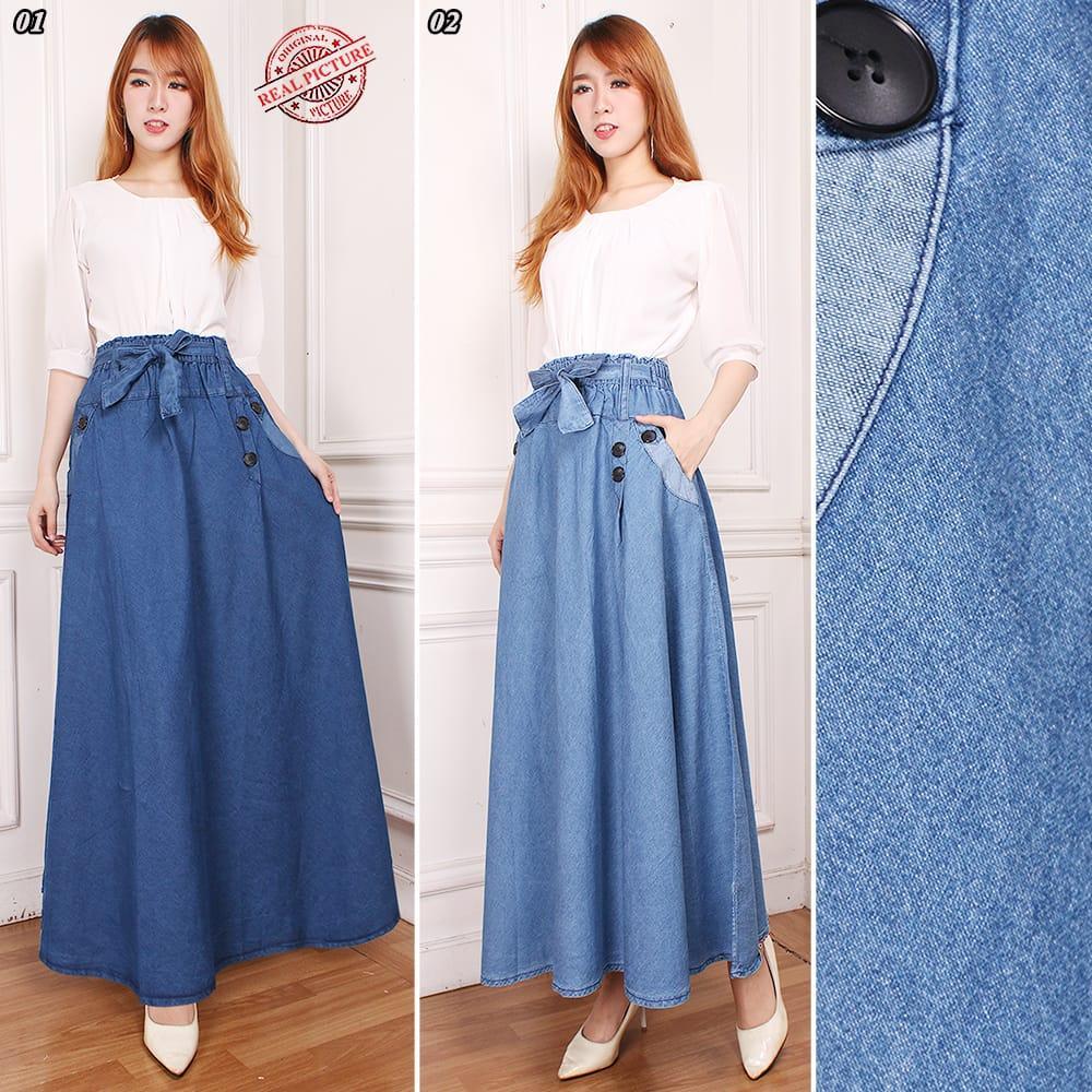 Miracle Rok Panjang Amura Maxi Jeans Payung Wanita