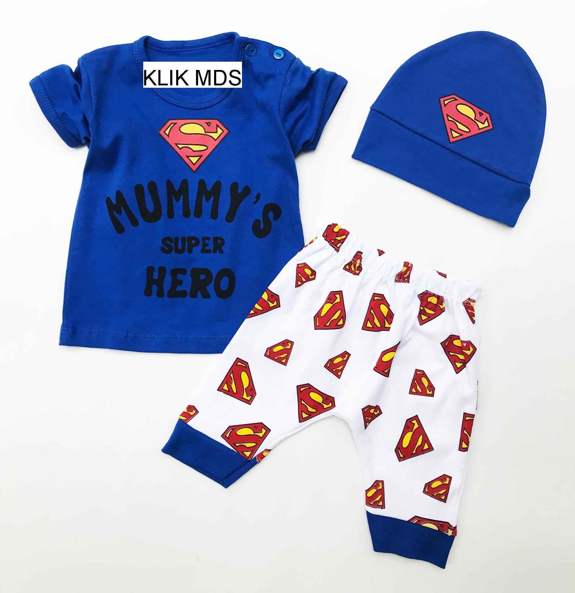 Cek Harga Baru Klik Mds Baju Anak Bayi Setelan Atasan Dan Celana Polisi Motif Karakter Mummys Super Hero Free