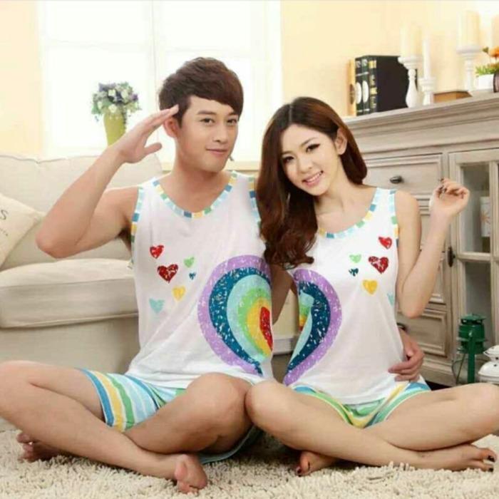 Baju Tidur Couple Love Love Pelangi Multi Colours