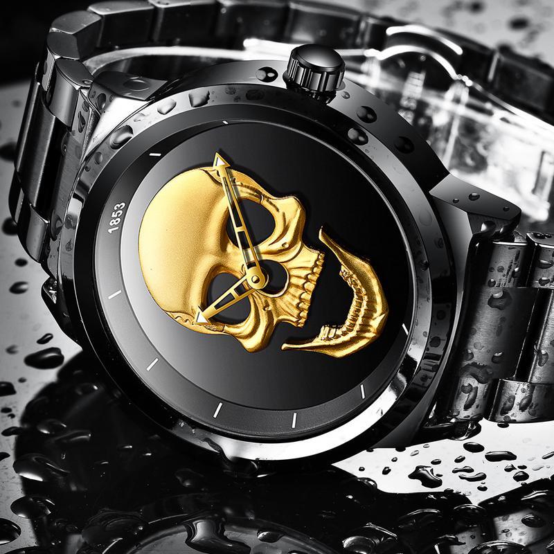 Detail Gambar LIGE Atas Merek Mewah Pria 3D Tengkorak Mewah Jam Tangan pria Mode Sport Quartz Perhiasan Pria Penuh Baja Waterproof Business Watch Terbaru