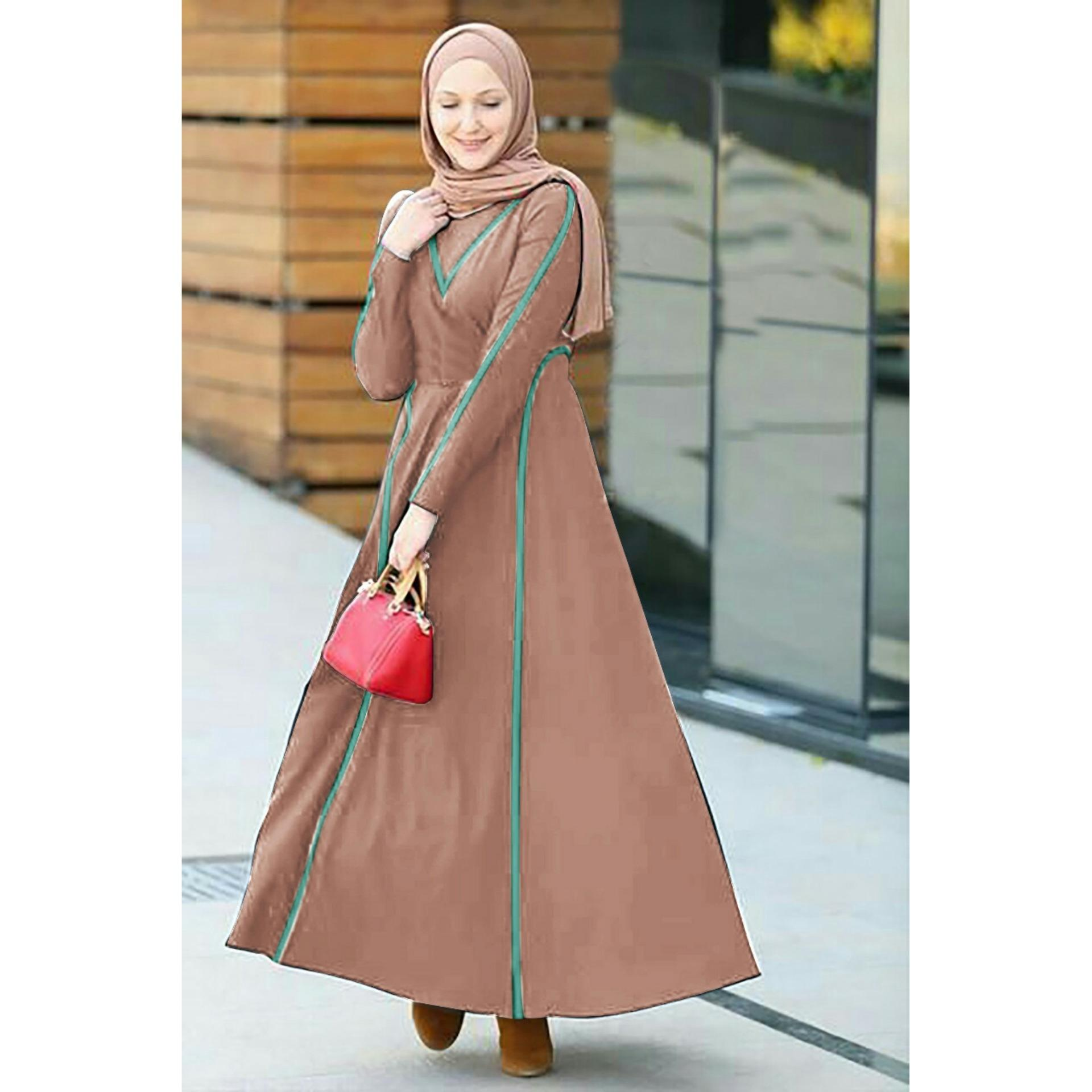 Kedai_baju Muslim Wanita / Gamis Mia Coklat - SR