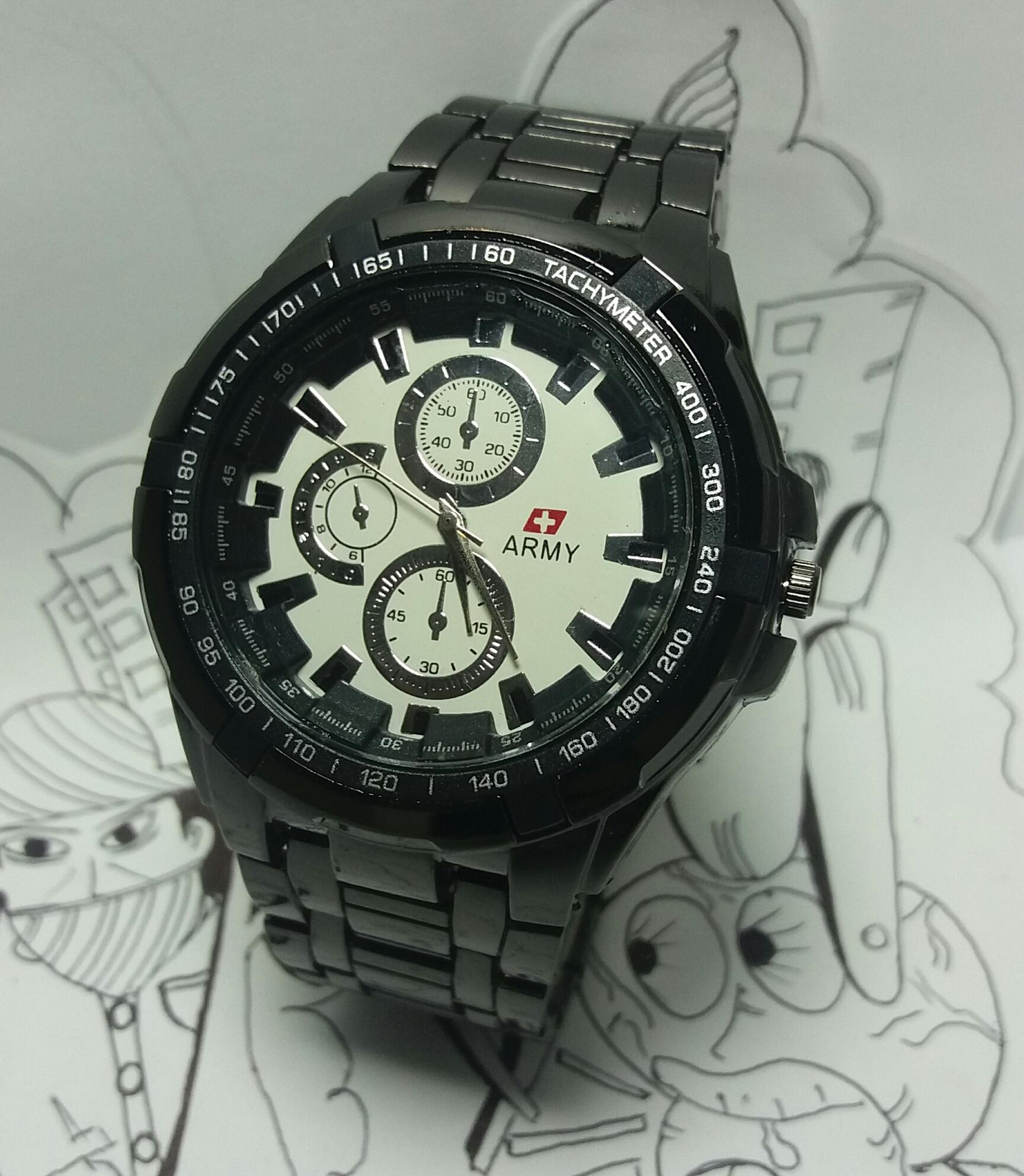 Swiss Army 4043 DS Jam Tangan Pria Stainless Stell Black