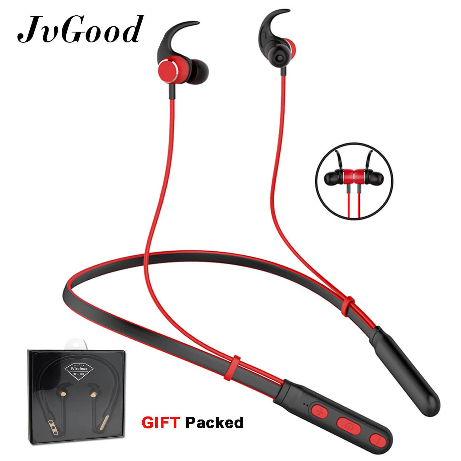 JvGood Bluetooth Headphones Wireless Headset Stereo Neckband Sport Earbuds with Mic HIFI Stereo Noise Cancelling Earbuds