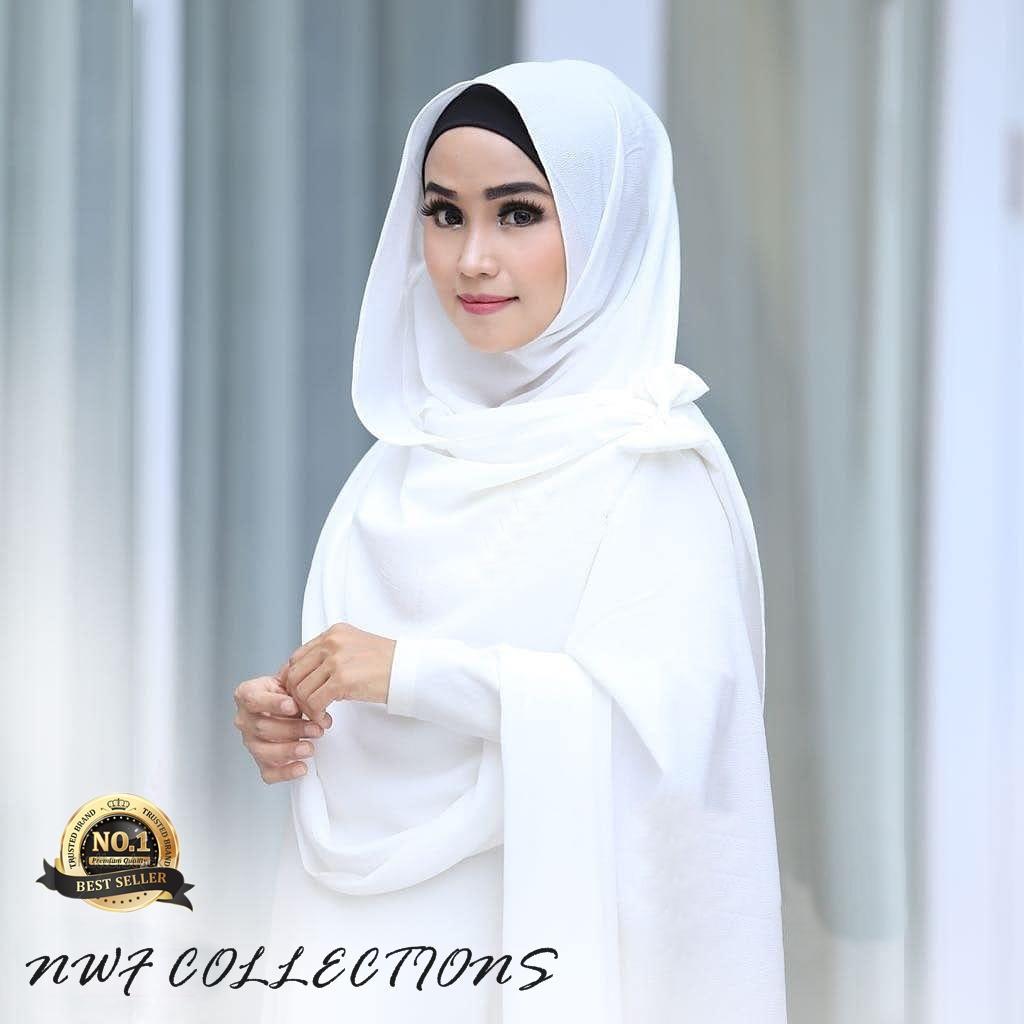 Hqo Hijab Jilbab Kerudung Pashmina Instan Tazkia Pad Flower Hitam Khimar Maroko Withpet Sj0004 Nwf Nissa