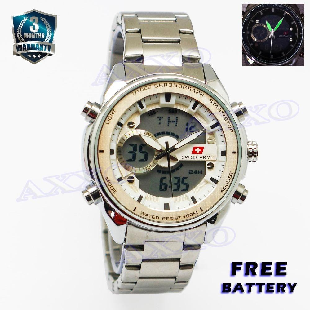 Jual Swiss Army Jam Tangan Sport Jam Tangan Digital Jam Tangan Pria Stainless Silver Dial Putih Sa 5171 Murah