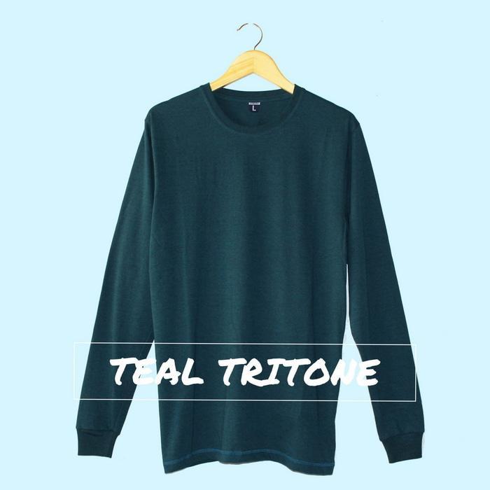 Baju Kaos Polos Lengan Panjang TEAL TRITONE Tosca Toska Cewek Cowok